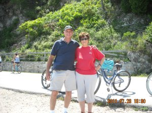 My husband and I riding bikes on vacation!