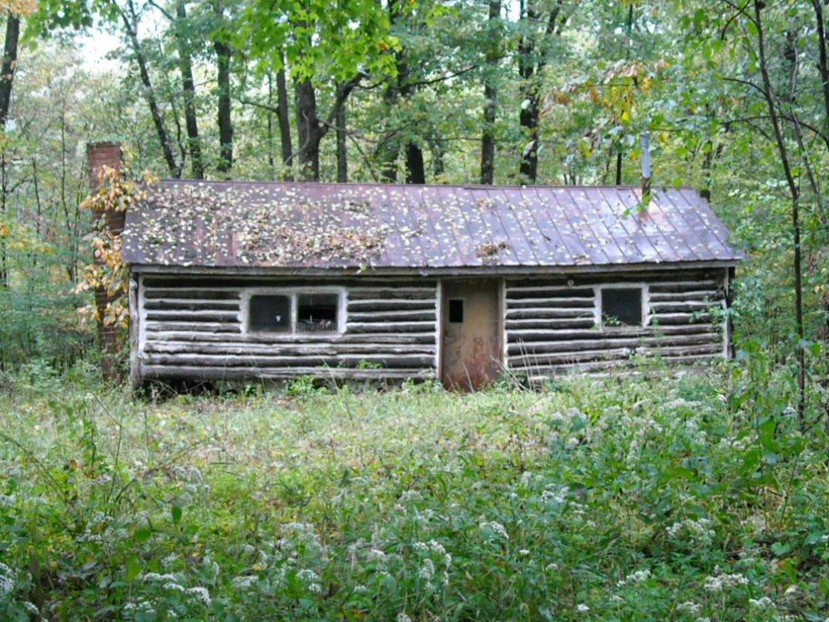 A cabin in the woods.