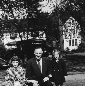 My sister Marilyn and I with my dad outside of Grandma and Grandpa's house,
