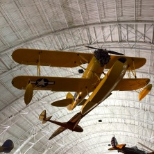 Planes hanging from the ceiling.